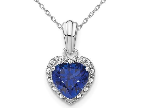 1.50 Carat (ctw) Lab-Created Blue Sapphire Heart Pendant Necklace in Sterling Silver with Chain
