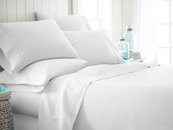 Home Collection Premium Ultra Soft 6-Piece Bed Sheet Set (White/Queen)