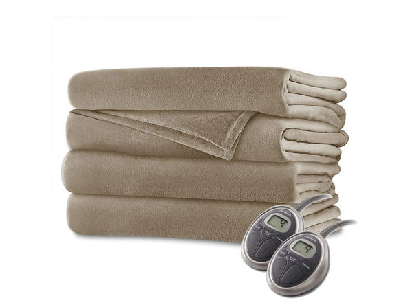 Sunbeam Velvet Plush Electric Heated Blanket Queen Size Mushroom Washable Auto Shut Off 20 Heat Settings - Mushroom