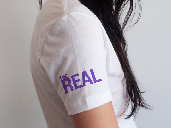 The Real Arm Logo White V-Neck T-Shirt (Medium)