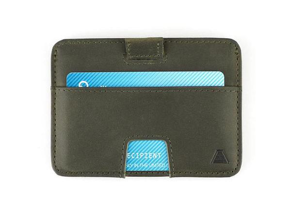 The Turner: Slim Leather Wallet (Olive Grey)