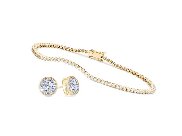 Bezel Earrings & Tennis Bracelet Set