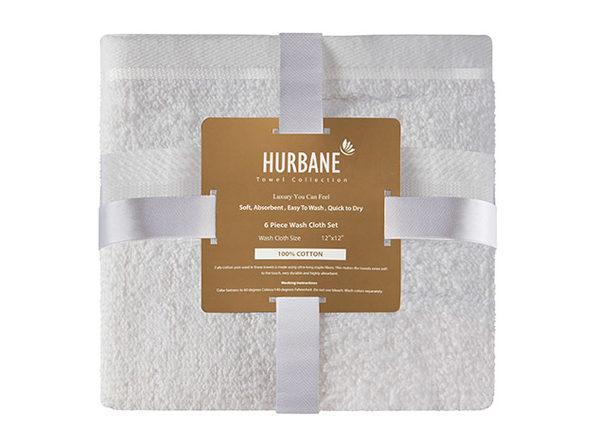 Hurbane Home 6 Piece Washcloth Set White - Product Image