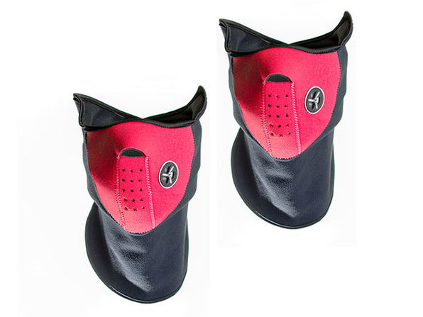 Neoprene/Fleece Neck and Face Mask - Red - 2pack - Product Image
