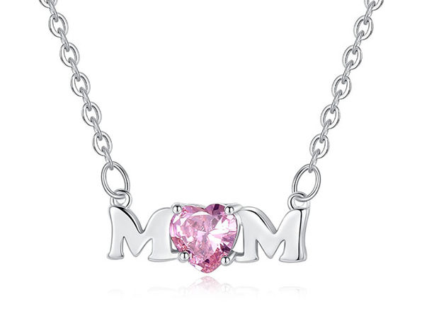 Mom Necklace Pendant 18K Gold with Pink Heart Stone Cubic Zirconia