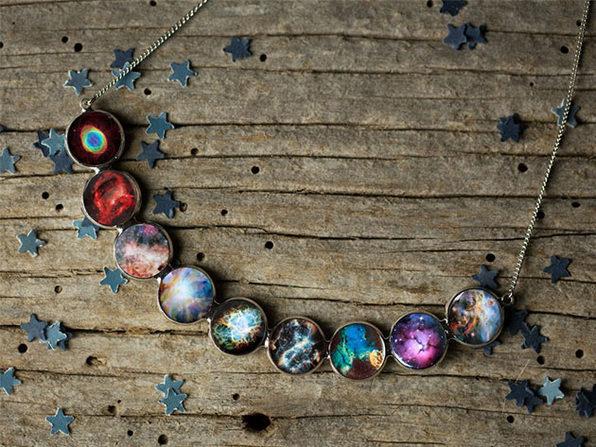 Rainbow Nebula Curved Bib Necklace