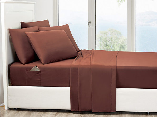 6-Piece Chocolate Ultra Soft Bed Sheet Set with Side Pockets Full - Product Image