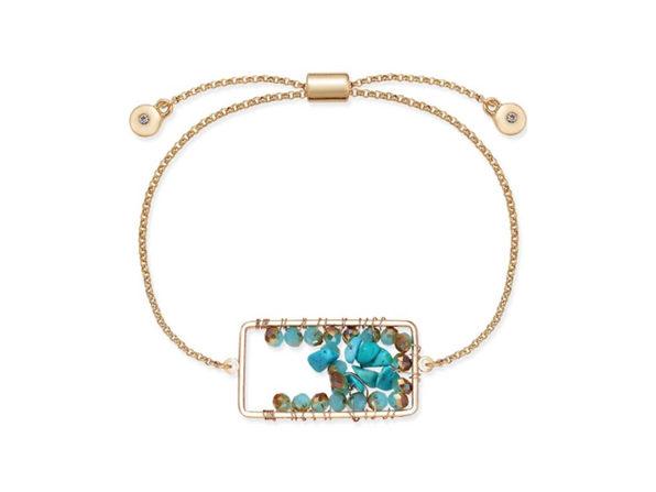 Inspired Life Stone Cluster Slider Bracelet Turquoise - Product Image