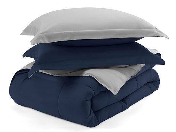 Home Collection Premium Down Alternative Reversible Comforter Set (Queen/Navy)
