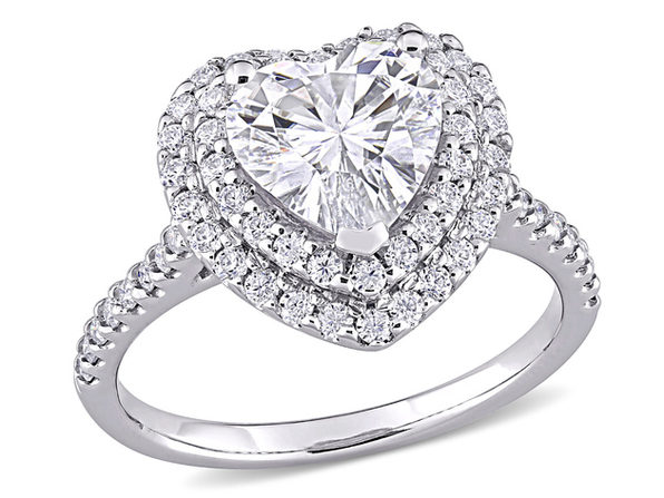 2.60 Carat (ctw) Lab Created Moissanite Heart Promise Ring in 10K White Gold - 6.5