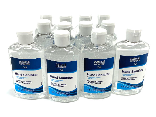 Twelve bottles of Natural Concepts hand sanitizer