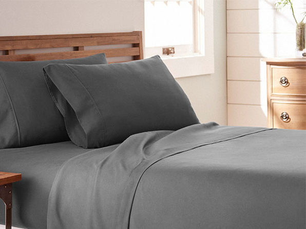 Home Collection Premium Ultra Soft 4-Piece Bed Sheet Set (Gray/Queen)