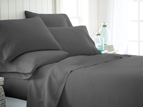 Home Collection Premium Ultra Soft 6-Piece Bed Sheet Set (Gray/Queen)