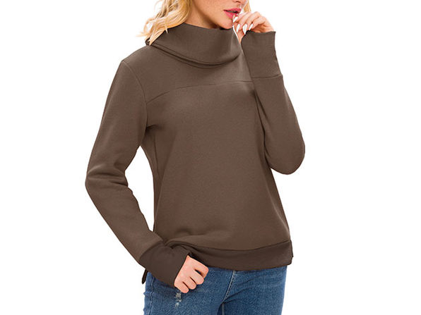 Brown Solid Long Sleeve Cowl Neck Pullover with Back Pleat