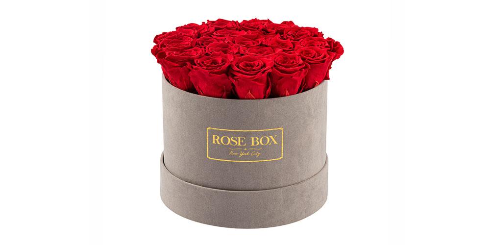 Rose Box Medium Velvet Gray Box & Everlasting Roses, on sale for $278.99 (reg. $329)
