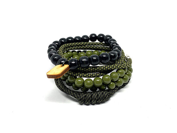 Diamond Variety Bracelets: 4-Pack (Olive/Black)