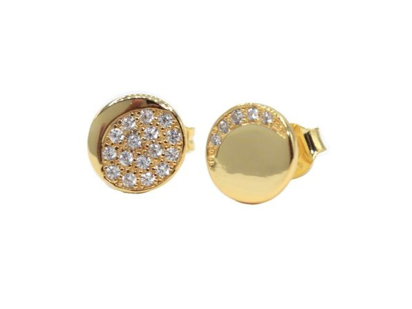 Homvare Women's 925 Sterling Silver Sparkling Moon Phase Stud Earrings - Gold