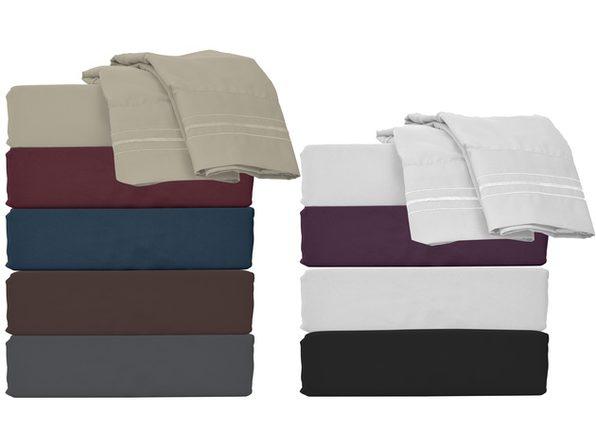 Style Basics Super Soft Brushed Microfiber Bed Sheet Set - 1800 Series Easy-Clean - King Purple