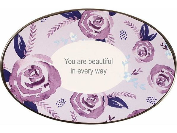 Precious Moments You Are Beautiful In Every Way Floral Oval Trinket Dolomite Dish