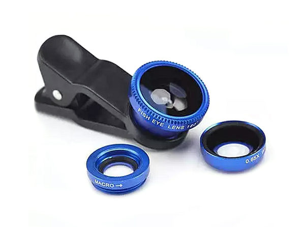 3-in-1 Universal Clip on Smartphone Camera Lens (Blue) - Product Image