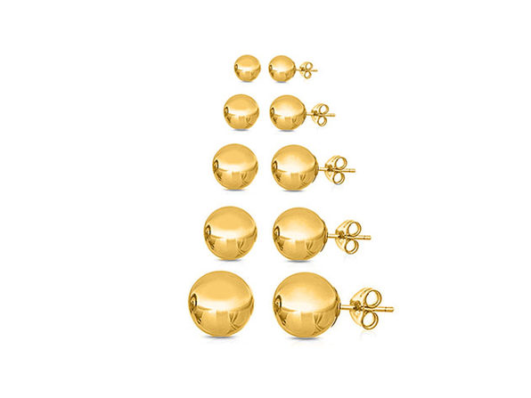Multi-Sized Ball Stud Earrings: 5 Pairs