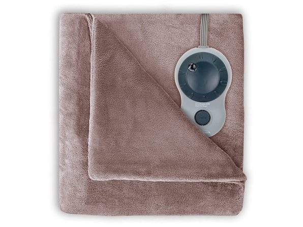 Sunbeam Channeled Velvet Plush Electric Heated Blanket Queen Size Mushroom Washable Auto Shut Off 10 Heat Settings