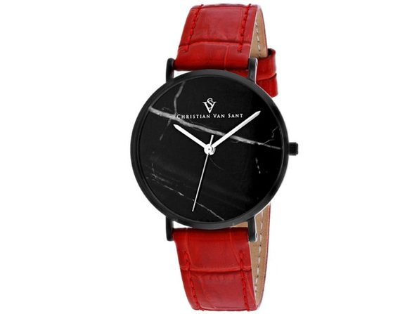 Christian Van Sant Women's Lotus Black Dial Watch - CV0424RD