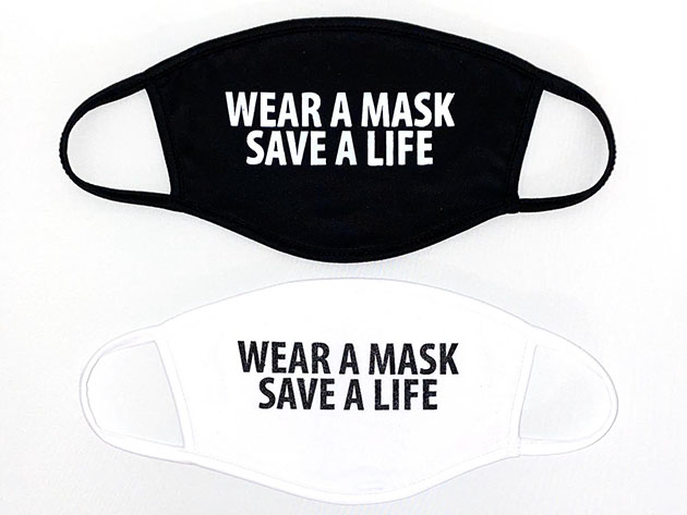 "Two-Ply ""Wear A Mask Save A Life"" Face Masks: 2-Pack, on sale for $14.39 when you use coupon code OCTSALE20 at checkout"
