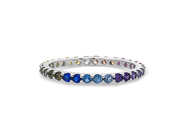 STERLING SILVER MULTICOLORED GEMSTONES ETERNITY BAND RING - Size 5 - Product Image