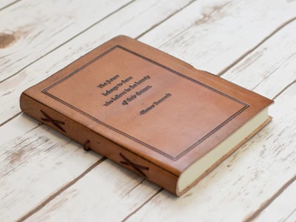 """The Future Belongs"" Handmade Leather Quote Journal"