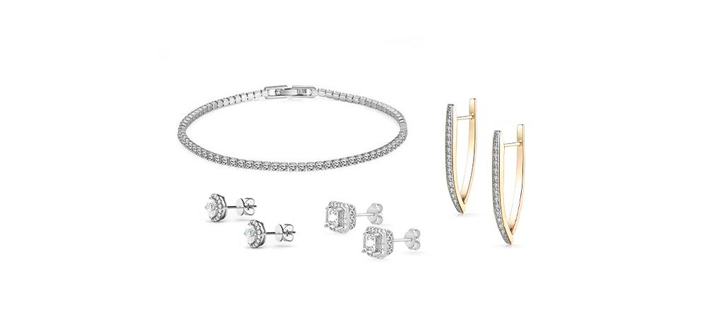 Swarovski Element Earrings & Bracelet 4-Piece Jewelry Bundle
