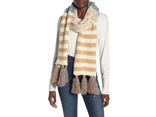 Free People Women's Knit Design Nova Stripe Statement Tassel Scarf, One Size, Beige - Product Image