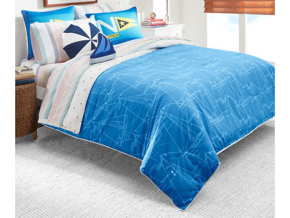 Nautica Kids Reversible Sailboat Blueprint 100% Fine Imported Cotton Comforter Set - Full