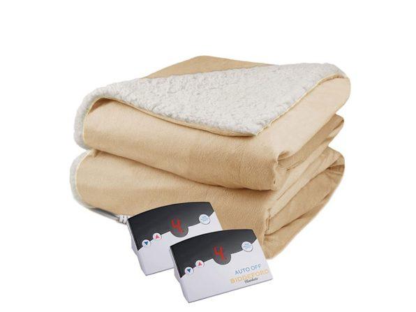 Biddeford Micro Mink and Sherpa Electric Heated Blanket King - Linen