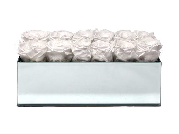 Rose Box™ Mirrored Table Centerpiece & 12 Everlasting Roses (Pure White)