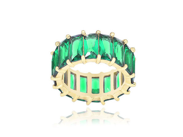 14K Gold Plated Green Eternity Ring (Size 8)