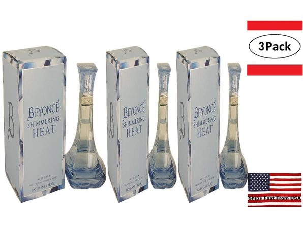 3 Pack Beyonce Shimmering Heat by Beyonce Eau De Parfum Spray 3.4 oz for Women - Product Image