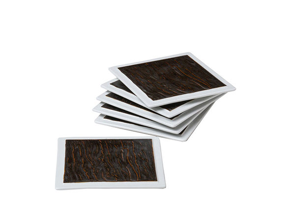 "Tuxton Home Kona Lava Snack Plate 6-Pc Set (6"" Square)"