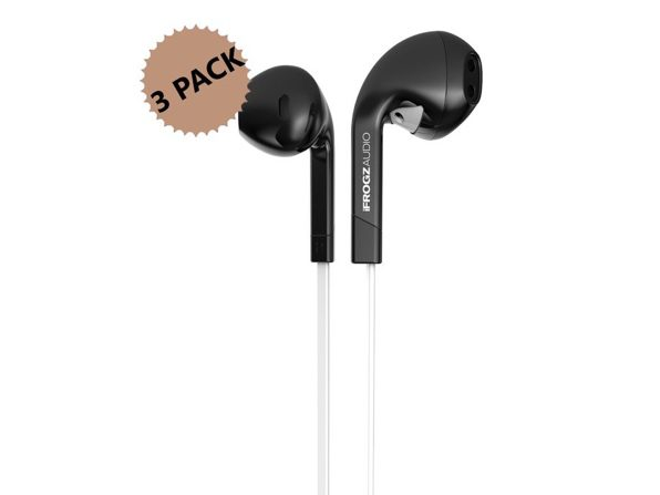 iFrogz InTone In-Ear Wired Headphones with Mic 3-Pack (Non-Retail Packaging)