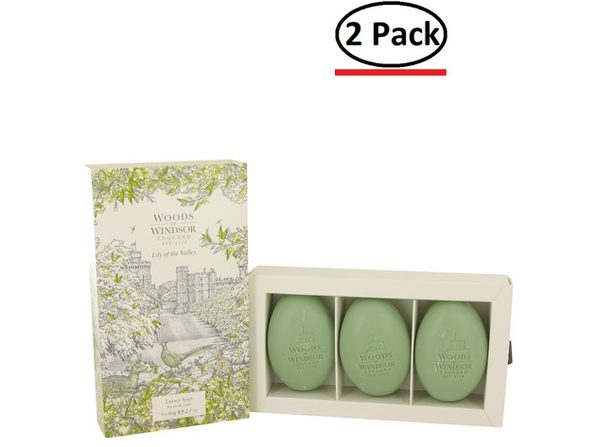 Lily of the Valley (Woods of Windsor) by Woods of Windsor Three 2.1 oz Luxury Soaps 2.1 oz for Women (Package of 2) - Product Image