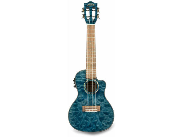 Lanikai Deluxe Grover Chrome OpenBack Tuners Ukulele ABS Body Binding-Blue Stain (Used, No Retail Box)