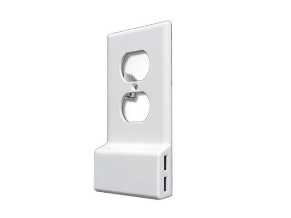 Invisible Dual USB Wall Charger Plate (Round) - Product Image