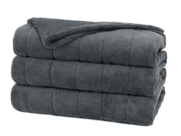 Sunbeam Soft Channeled Velvet Plush Electric Heated Warming Blanket Queen Slate Gray