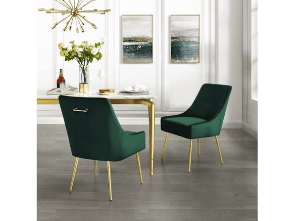 Inspired Home Emerald Velvet Christine| Armless Dining Chair - Set of 2