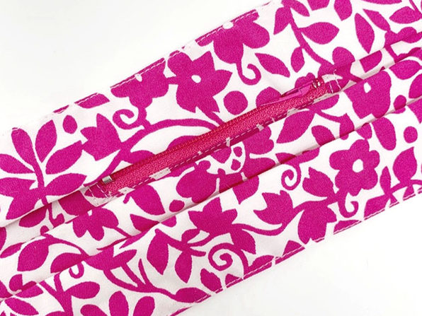 Zippered Face Cover (Magenta Floral)