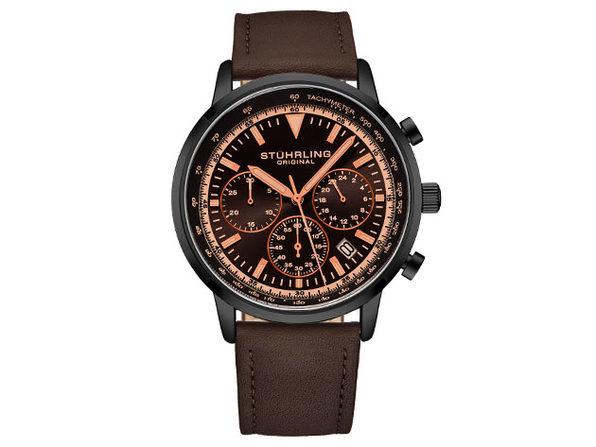 Quartz 44mm Chronograph Men's Watch (Black/Brown)