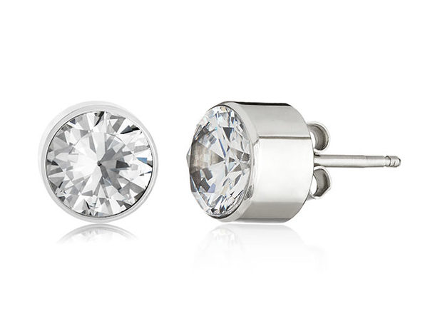 Elya Women's Set Cubic Zirconia Stud Stainless Steel Earrings (Silver)