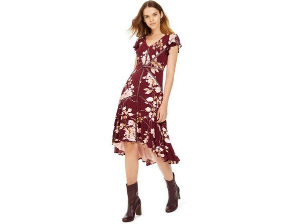 Taylor Women's Crochet-Trim Midi Dress Wine Size 4