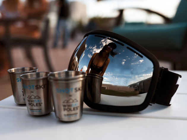 Get the party started with these COOL (pardon the pun) shot glasses attached to a ski!