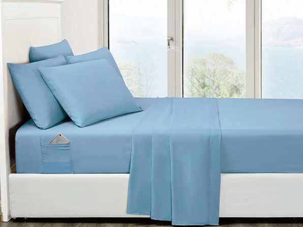 6-Piece Aqua Ultra-Soft Bed Sheet Set With Side Pockets (Queen)